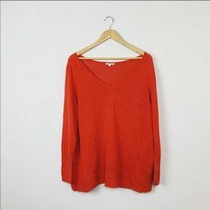 Eileen Fisher Red V-neck Linen Sweater